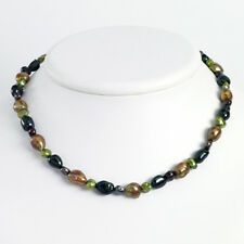 925 Sterl Silver Baroque Shape Green Pink Fw Cultured Pearl Bead Necklace
