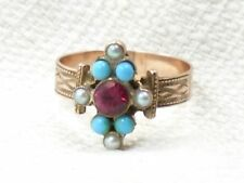 Estate Antique Victorian 14K Rose Gold Turquoise Pearl & Red Spinel Ring