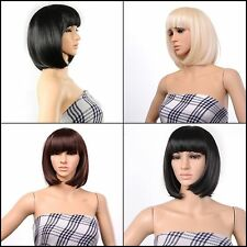 13 Inch Bob Style Wig Party Short Straight Bang Hair Heat Resistant Full Wig NEW