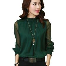 2017 Fashion Spring Autumn Chiffon Blouse New Korean Casual Ruffle Collar Shirt