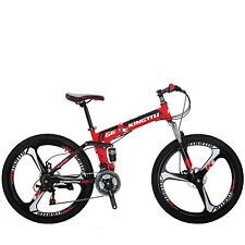 "G6 Folding Bike Mountain Bike 26"" 21 Speed Full Suspension Bicycle MTB Foldable"