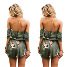 Holiday Playsuit Jumpsuit Summer Romper Ladies Printed shorts Womens Beach Dress