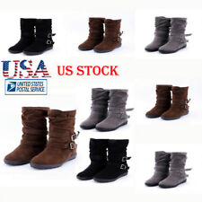 Ladies Boots Mid Calf Booties Low Chunky Flat Heel Suede Faux Buckle Shoes Size