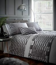 MURRAY STONE BEDDING CRUSHED VELVET LINES GREY CHARCOAL SLATE LUXURIOUS QUILTED