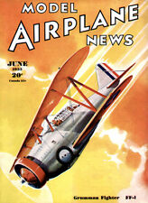 Model Airplane News - Grumman Fighter FF-1 - June 1935 - Magazine Cover Poster