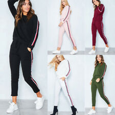 2Pcs Womens Tracksuit Hoodies Sweatshirt Pants Sets Sport Wear Casual Suit Shirt