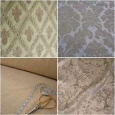Cotton Plush French Chenille Upholstery Fabric Beige Cream Floral Tree Diamond