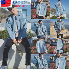 US Men Denim Jean Jacket Casual Sweater Outdoor Coat Korean Tops Overcoat Blouse