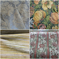 Vtg Plush Chenille Cotton Floral Brocade Upholstery Fabric Red Sage Beige Golden