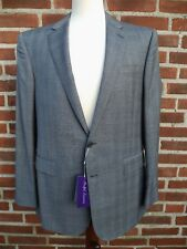 Ralph Lauren Purple Label 2B Suit 100% wool Anthony Notch Grey Glenplaid Wool