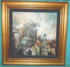 Surrealist Painting of Coffee Pot - Sugar Bowl - Faces - Pear - Hand - Buildings