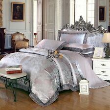 Peony Lace Quilt Duvet Doona Cover Set Queen King Size Bed Pillowcases Linen Set