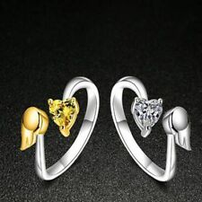 Zircon Fashion Opening Exquisite Love Heart Ring Adjustable Ring Angel Wings