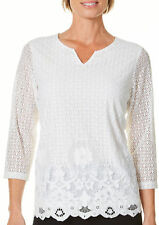 Alfred Dunner Womens Lakeshore Drive Floral Lace Top