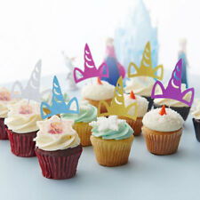 10x Unicorn Horn Shape Cupcake Toppers Picks Baby Shower Party Cake Decorations