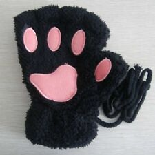 Cute Cat Claw Paw Cashmere Wool Mittens Harf Finger Short Women Lovely