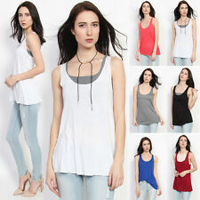 TheMogan Scoop Neck Racerback Draped Jersey Layering Swing Tank Top