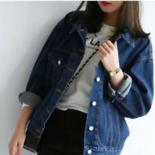 Womens Jeans Jacket Retro Oversize Cowboy Denim Loose Fit Casual BF Style Coats