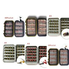 40Pcs Trout Fly Fishing Flies Wet Dry Lure Lures Fish Baits Hooks with Box