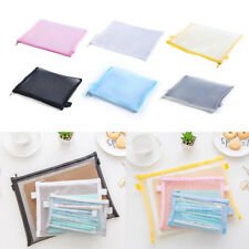Clear Exam Pencil Case Transparent Simple Mesh Zipper Stationery Bag School Fa