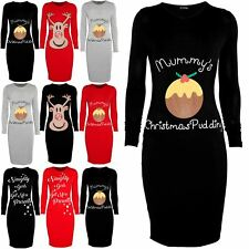 Womens Ladie Xmas Mummy's Christmas Pudding Bodycon Maternity Stretch Midi Dress
