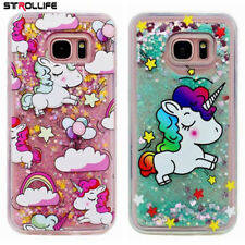 Cute Unicorns Dynamic Liquid Glitter Silicone Cover Phone Case For Samsung Girls