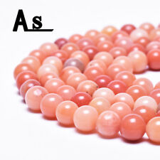 """Natural Coral Pink Jade Gemstones Beads Round Stone Beads for Jewelry Making 15"""""""