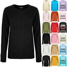 Womens Ladies Chunky Cable Knit Sweater Stretchy Long Sleeve Winter Warm Jumper