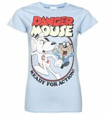 Official Women's Danger Mouse Ready For Action Light Blue T-Shirt