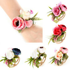 Bridesmaid Sisters Wrist Band Corsage Bracelet Wedding Party Hand Flower Envy