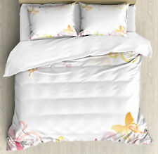 Ambesonne Floral Spring Wreath Flower Butterflies Leaves Pattern Duvet Cover Set