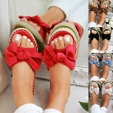 US Womens Slip On Sandals Bow Flat Mule Summer Sliders Espadrille Shoes Sizes