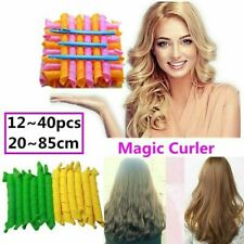 12~40pcs,25~85cm Magic Curlers Long Hair Spiral Curl Formers Leverage Rollers US