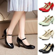 Womens Buckle Ankle Strap Patent Leather Mary Jane Shoes Dress Pumps Round Toe