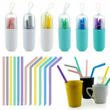 CA Reusable Silicone Drinking Straws Food Grade Straw with Cleaning Brushes Set
