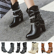 Women Casual Slouch Boots Diamonds Buckle Strap Slip On High Heel Ankle Boots