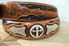 3D GENUINE LEATHER TOOLED WITH BUTTERFLY CONCHO/CROSS RODEO COWBOY BELT SZ 30-44