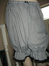 New Goth Lolita Black White check lace Sissy Long Bloomers Pantaloons lagenlook