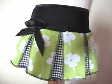 NEW Girls Black White Lime Green modern Floral Check pleated Skirt Party Gift