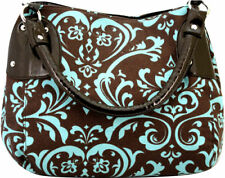 NEW Brown Double Handle Satchel - Pink or Blue Damask