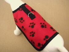 Red Fleece With Black Paws Dog Harness Clothes Coat