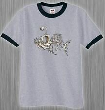 Ringer Tee Shirt * Skeleton Fish Bones Tattoo T-shirt