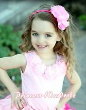 Pink Pettitop Tank Top with Pink Chiffon Rosettes 1-8Y