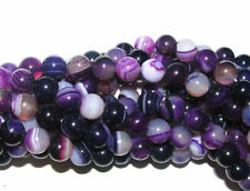 "15.5"" Strand Purple Banded Round Agate Beads-8mm & 6mm"