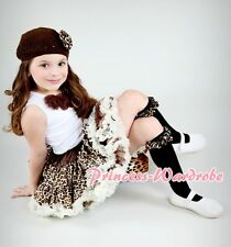 Cream Leopard Pettiskirt White Top Brown Rosettes 1-8Y