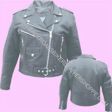 LADIES WOMENS CLASSIC LEATHER MOTORCYCLE BIKER JACKET