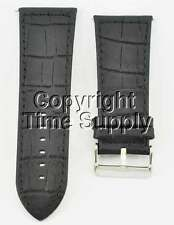 32 mm BLACK LEATHER WATCH BAND CROCO WITH SPRING BAR