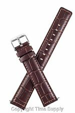 20 mm BROWN LEATHER WATCH BAND CROCO EXTRA LONG XXL