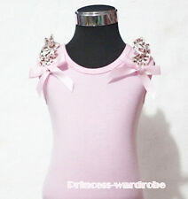 Pink Pettitop Tank Top with Bows Light Pink Leopard Ruffles For Pettiskirt NB-8Y