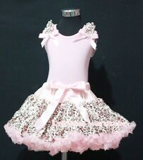 Light Pink Leopard Pettiskirt with Pink Pettitop Top Ruffles Pink Bows Set 1-8Y
